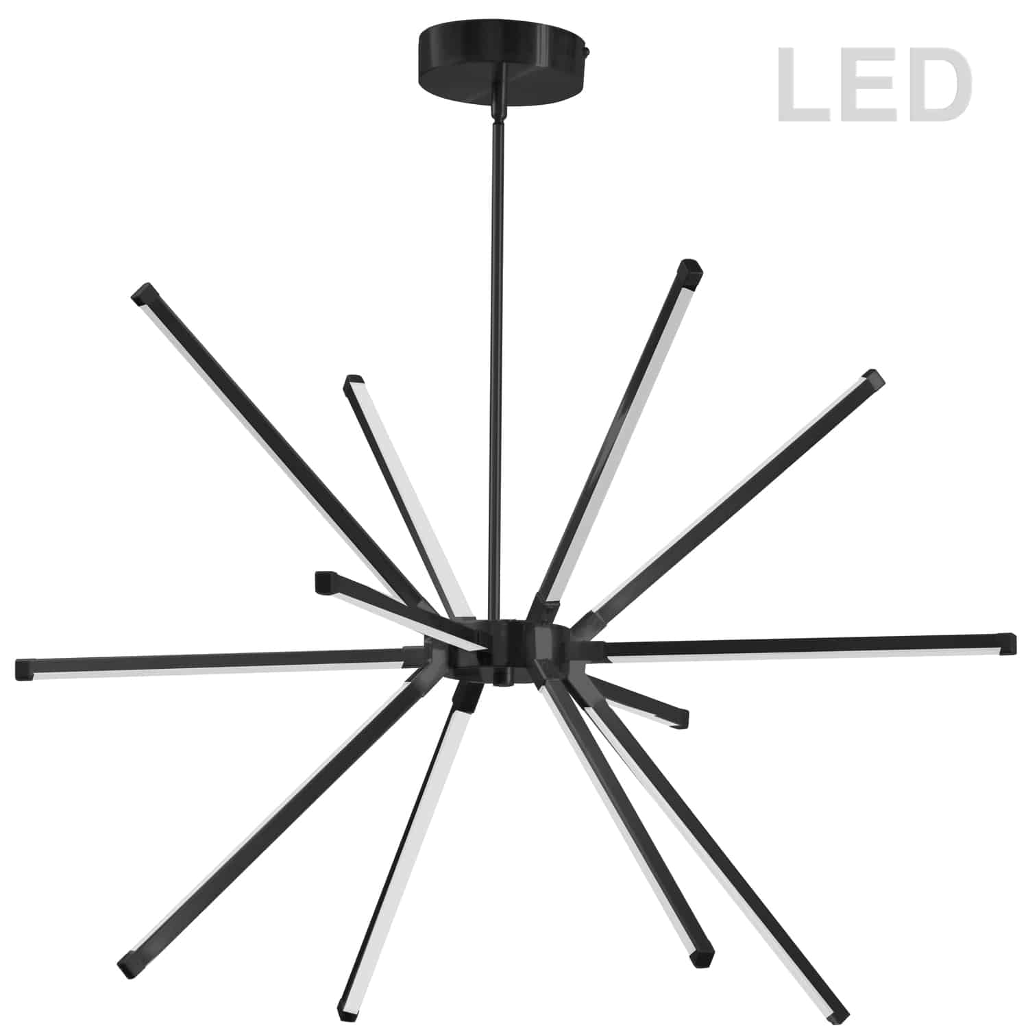 60W LED Chandelier, Matte Black with White Acrylic Diffuser
