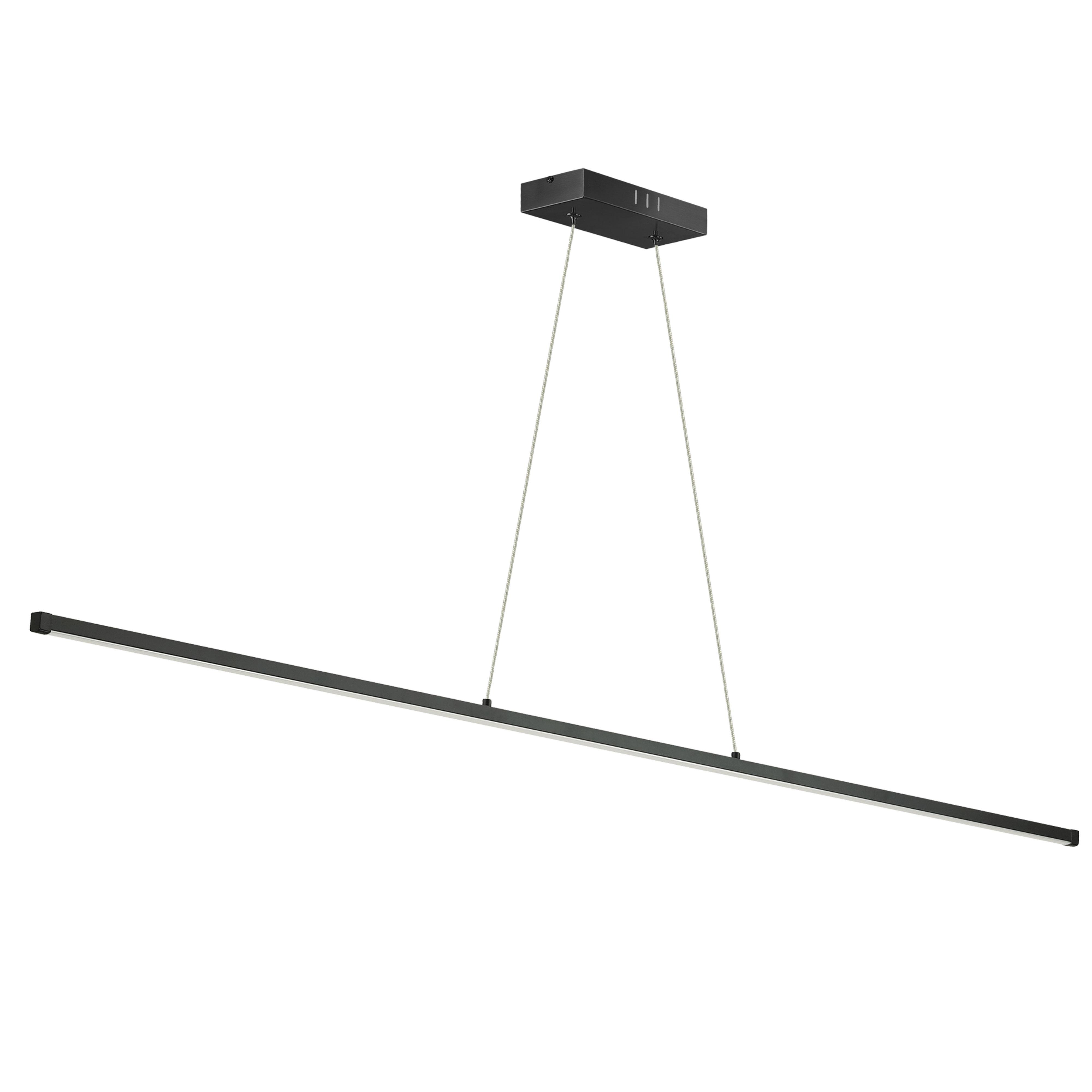 30W LED Horizontal Pendant, Matte Black with White Acrylic Diffuser