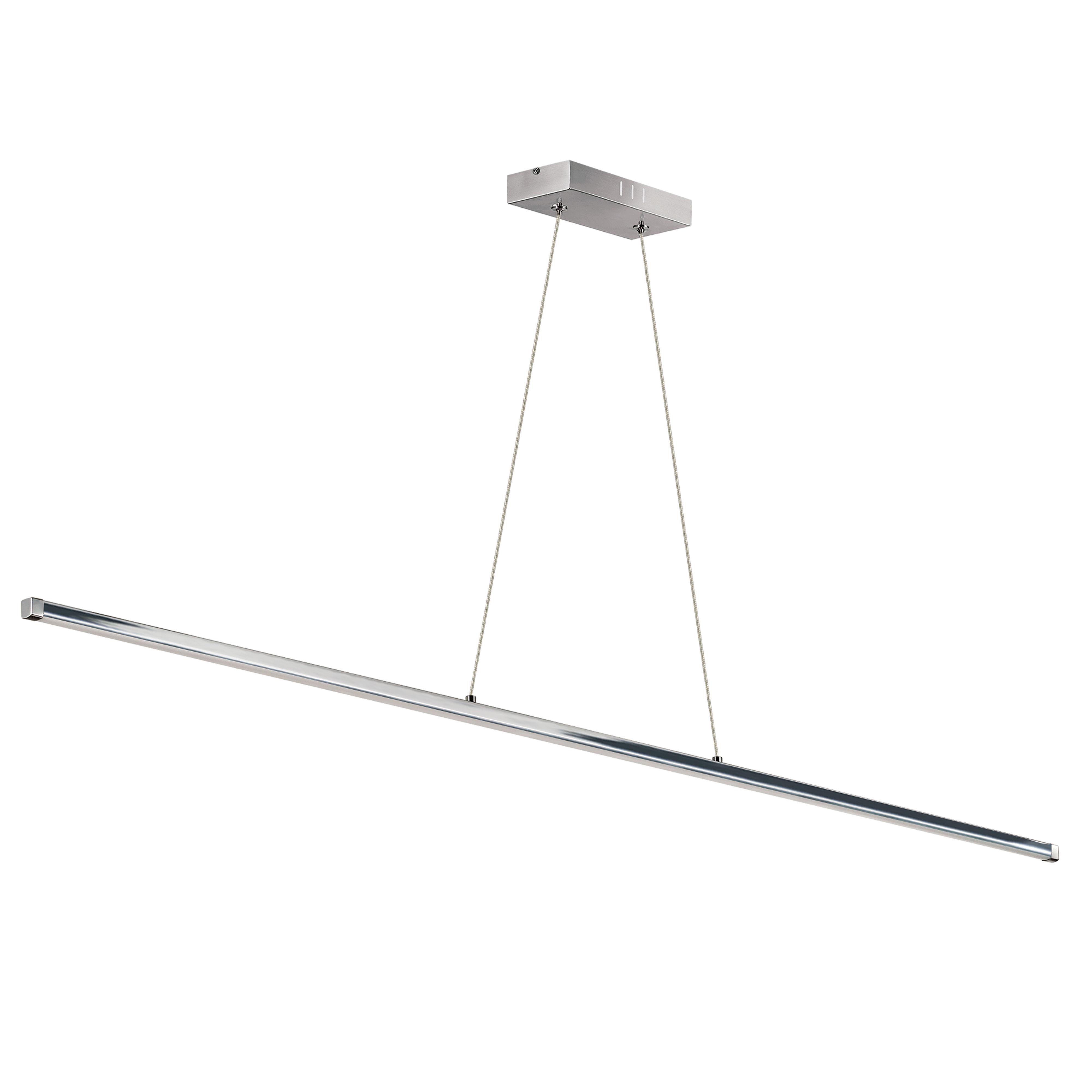 30W LED Horizontal Pendant, Polished Chrome with White Acrylic Diffuser
