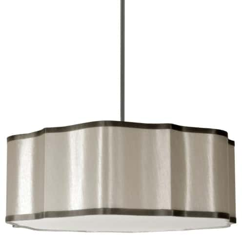 4 Light Petal Pendant, 837 Pebble Fabric With 834 Steel Trim