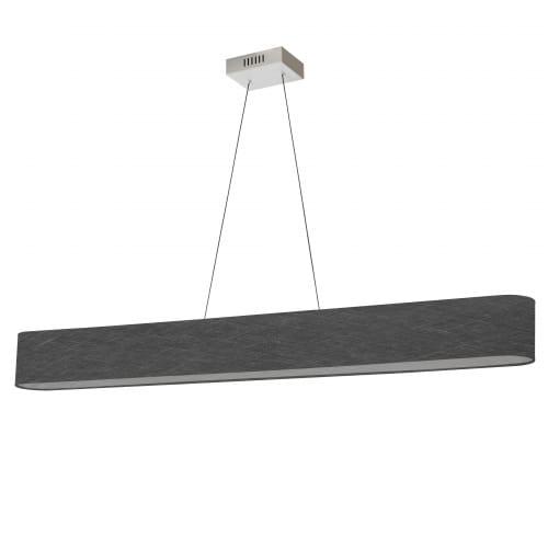 30W Horizontal Polished Chrome Pendant with Black/Clear Shade