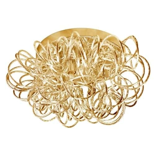The intriguing Baya family of chandeliers offers an asymmetrical appeal that adds noticeable impact to your artistic home décor. A Baya chandelier is sure to attract the eye even as it offers an understated form of lighting.  Rounded open wire forms in polished chrome or gold tone beautifully set off the glow of lighting that is reflected and redirected to subtle effect. Baya lighting has an artisanal sense of style that works well with both casual and formal furnishings.