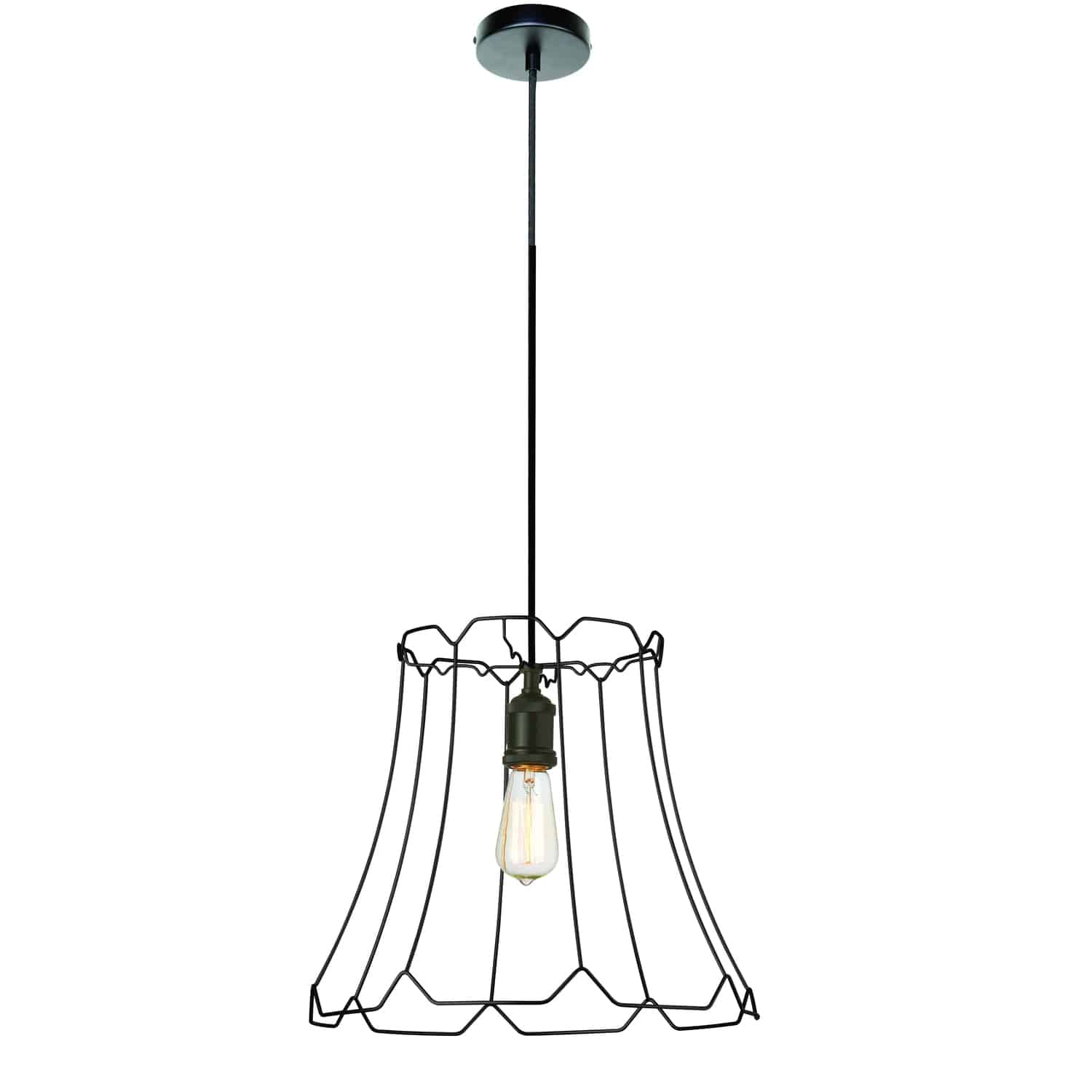 1 Light Metal Framed Pendant, Medium Matte Black Finish