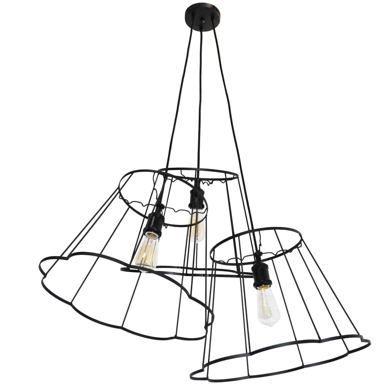 3 Light Incandescent Metal Black Framed Multi Pendant