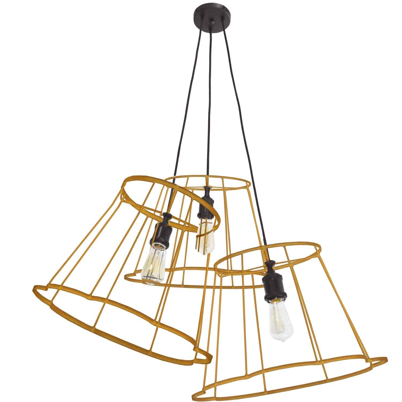 3 Light Incandescent Metal Gold Framed Multi Pendant