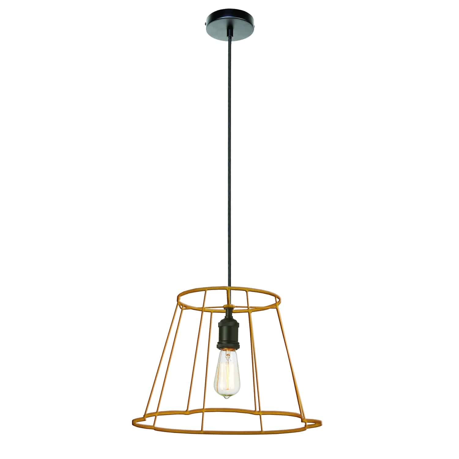1 Light Metal Framed Pendant, Small Gold Finish