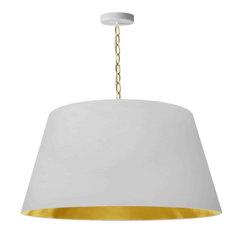 1 Light Brynn LG Pendant, White/Gold Shade, Aged Brass