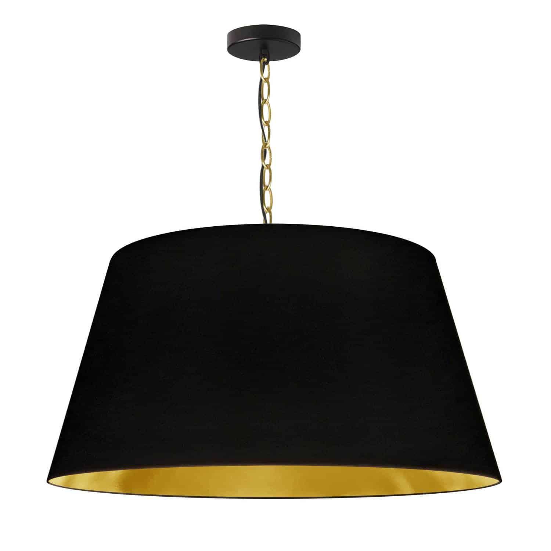 1 Light Brynn LG Pendant, Black/Gold Shade, Aged Brass