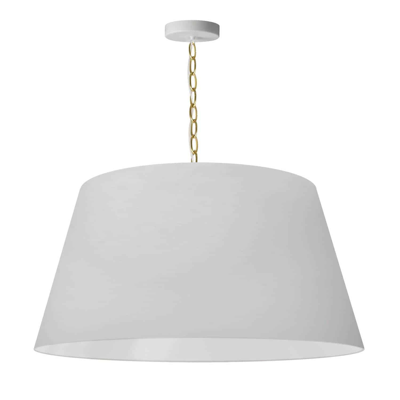 1 Light Brynn Large Pendant, White Shade, Aged Brass
