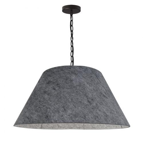 1 Light Large Brynn Black Pendant w/ Grey Felt