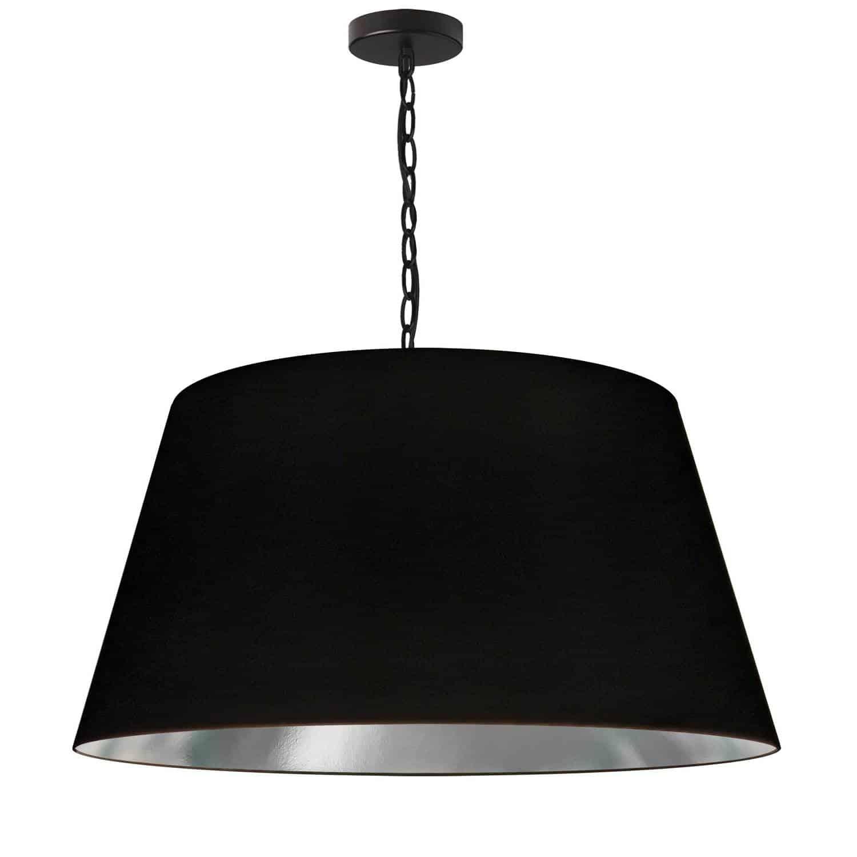 1 Light Brynn Large Pendant, Black/Silver Shade, Black