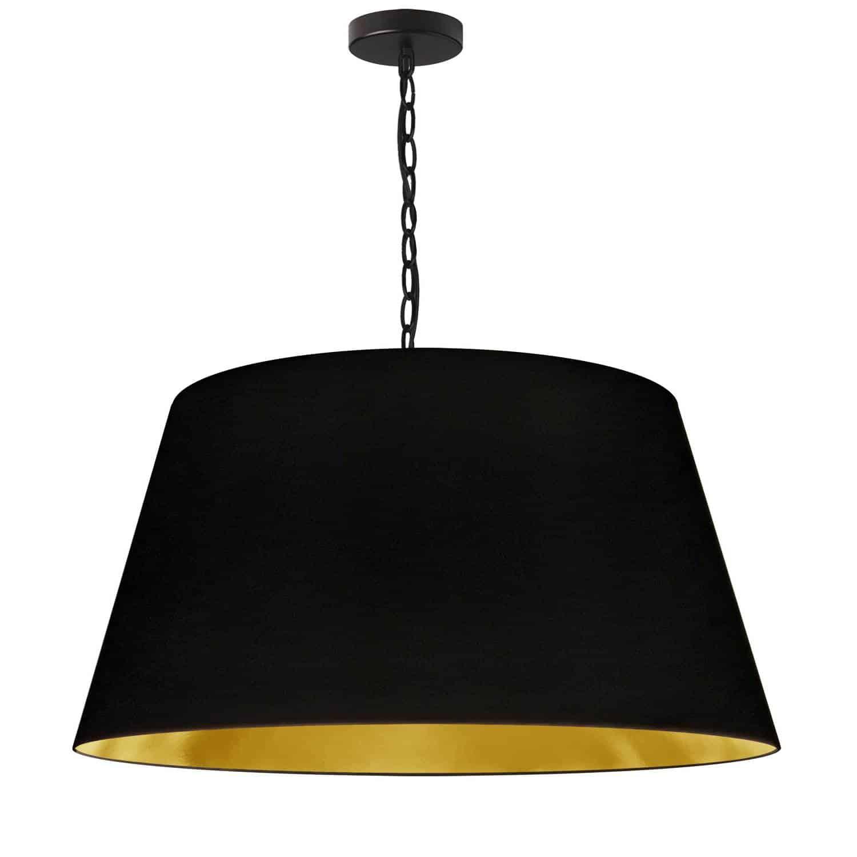 1 Light Brynn Large Pendant, Black/Gold Shade, Black