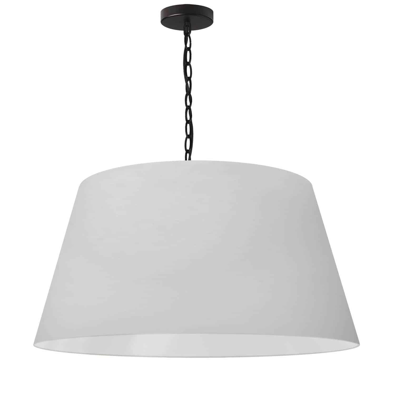 1 Light Brynn Large Pendant, White Shade, Black