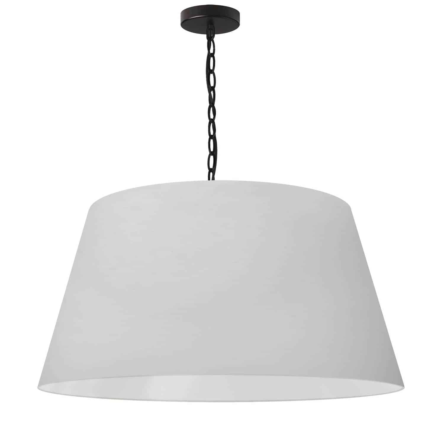 1 Light Brynn Large Pendant, White Shade, Black
