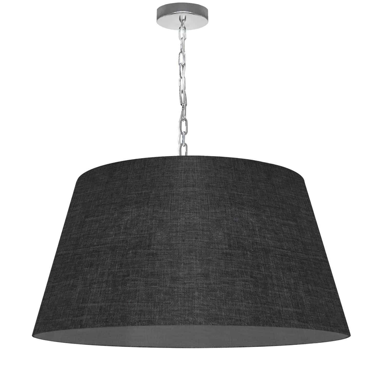 1 Light Brynn Large Pendant, Black/Clear Shade, Polished Chrome