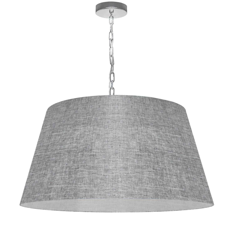 1 Light Brynn Large Pendant, Grey/Clear Shade, Polished Chrome