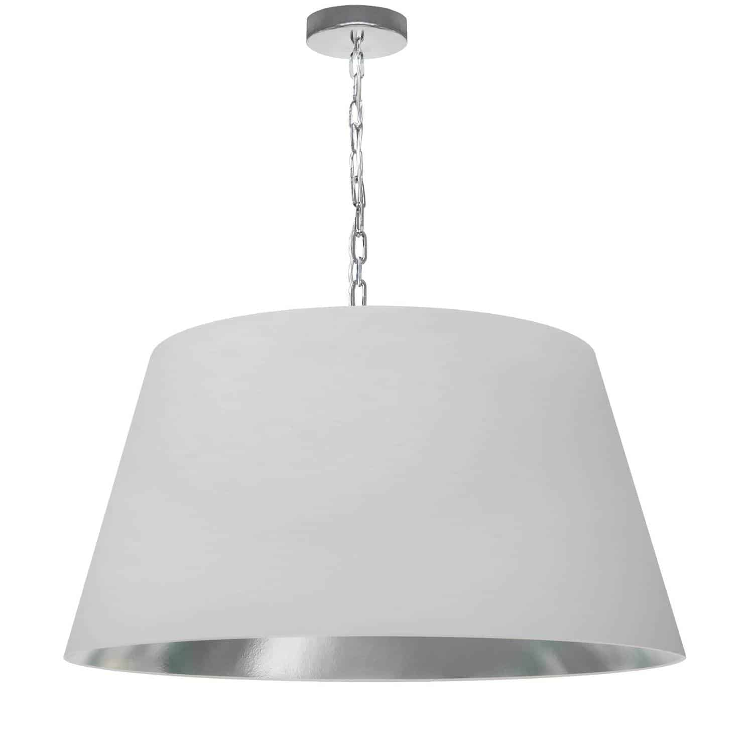1 Light Brynn Large Pendant, White/Silver Shade, Polished Chrome