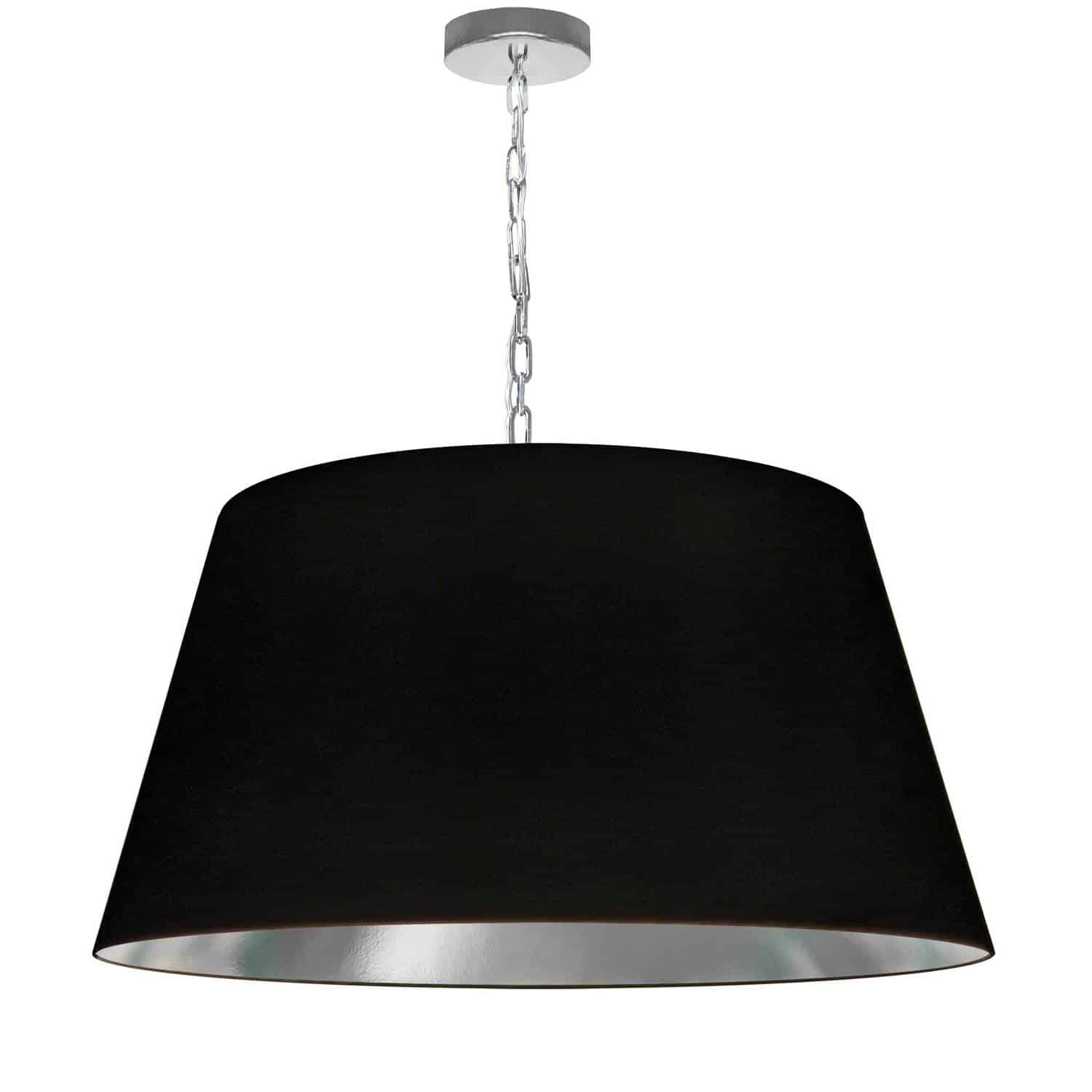 1 Light Brynn Large Pendant, Black/Silver Shade, Polished Chrome