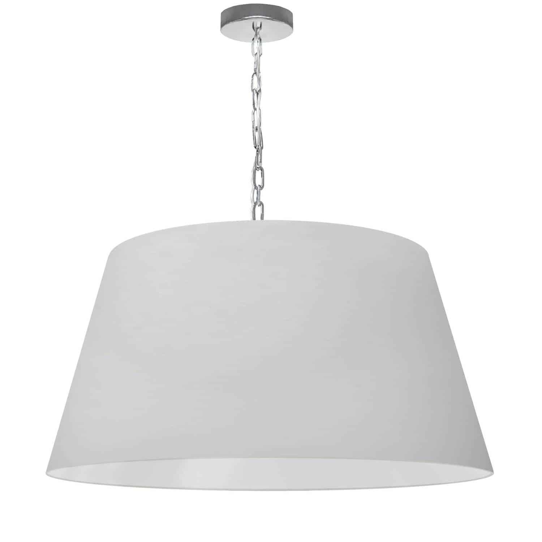 1 Light Brynn Large Pendant, White Shade, Polished Chrome