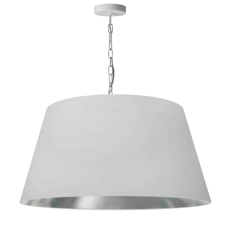 1 Light Brynn Large Pendant, White/Silver Shade, White