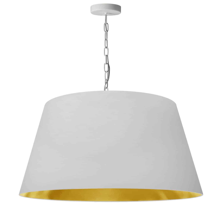 1 Light Brynn Large Pendant, White/Gold Shade,White