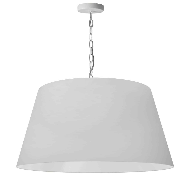 1 Light Brynn Large Pendant, White Shade, White