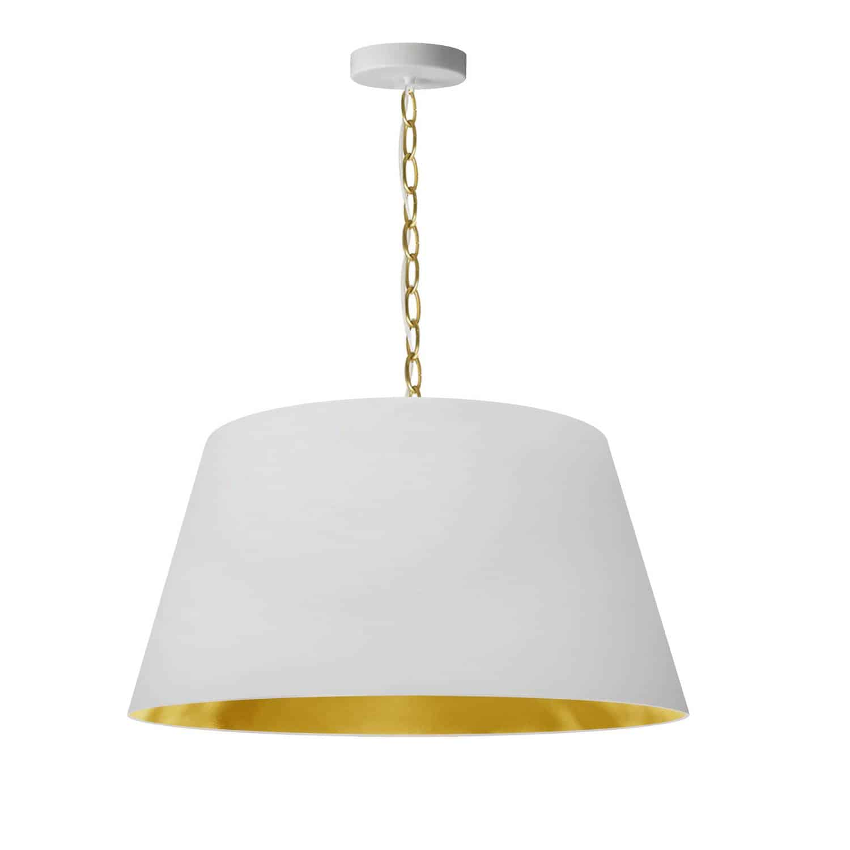 1 Light Brynn Medium Pendant, White/Gold Shade, Aged Brass
