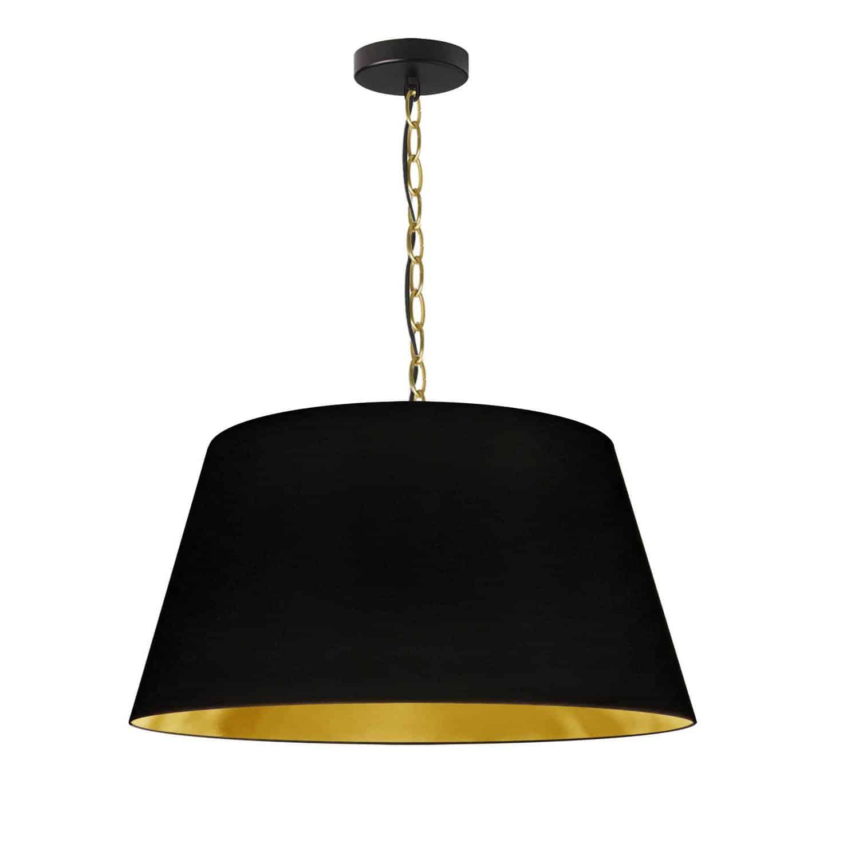 1 Light Brynn Medium Pendant, Black/Gold Shade, Aged Brass