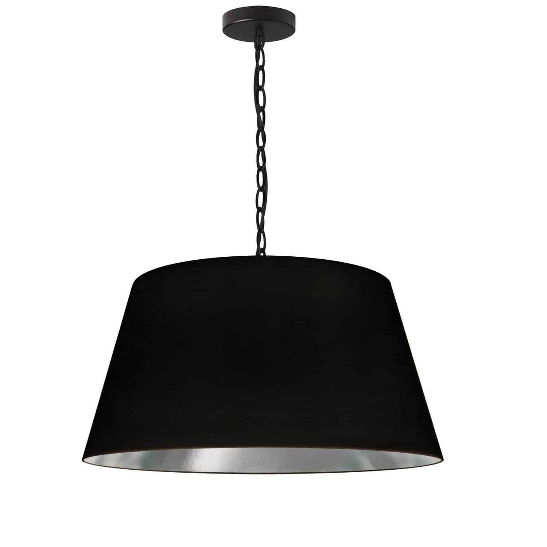 1 Light Brynn Medium Pendant, Black/Silver Shade, Black