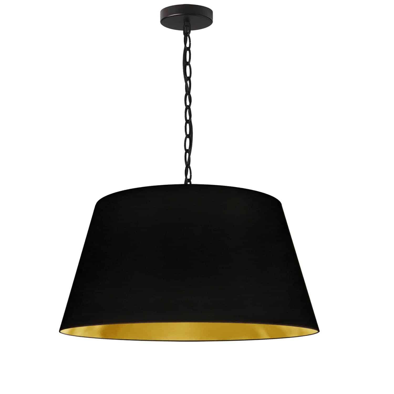 1 Light Brynn Medium Pendant, Black/Gold Shade, Black