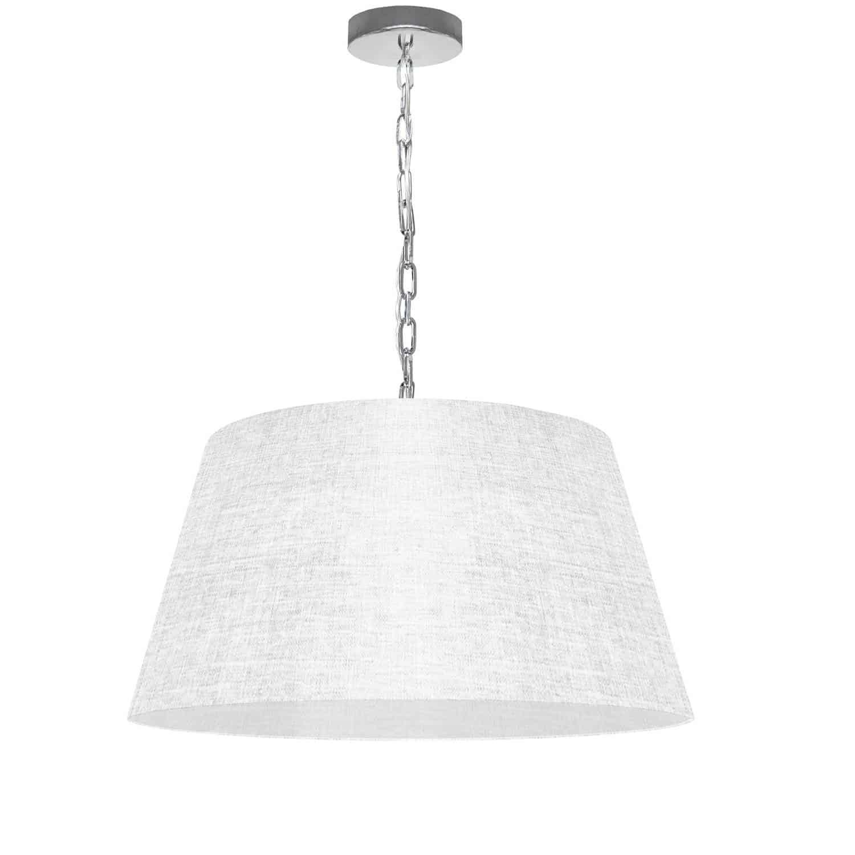 1 Light Brynn Medium Pendant, White/Clear Shade, Polished Chrome