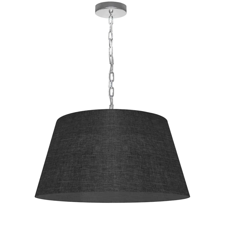 1 Light Brynn Medium Pendant, Black/Clear Shade, Polished Chrome