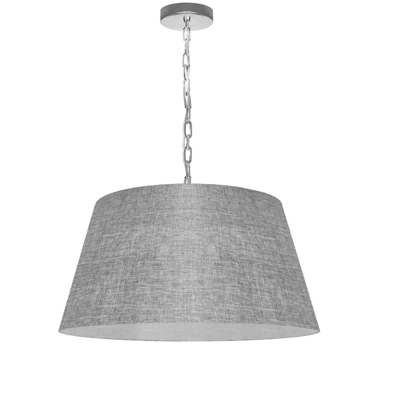1 Light Brynn Medium Pendant, Grey/Clear Shade, Polished Chrome
