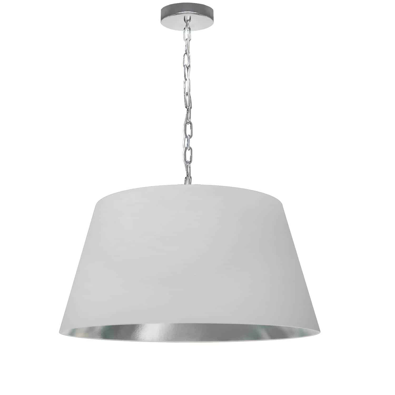 1 Light Brynn Medium Pendant, White/Silver Shade, Polished Chrome