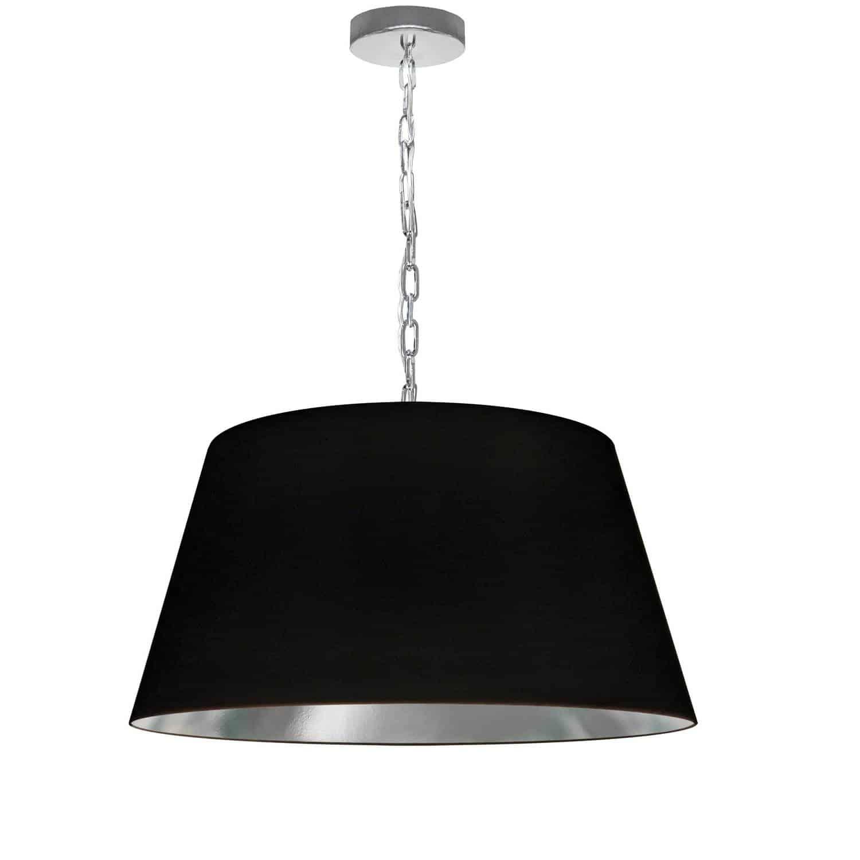 1 Light Brynn Medium Pendant, Black/Silver Shade, Polished Chrome