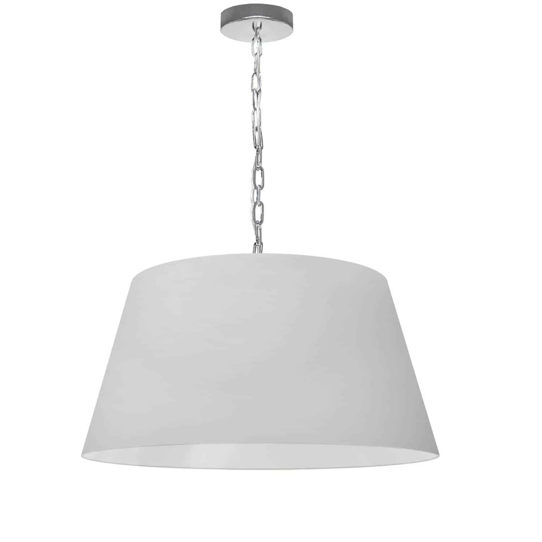 1 Light Brynn Medium Pendant, White Shade, Polished Chrome