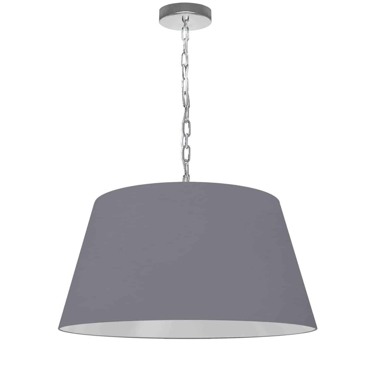 1 Light Brynn Medium Pendant, Grey Shade, Polished Chrome