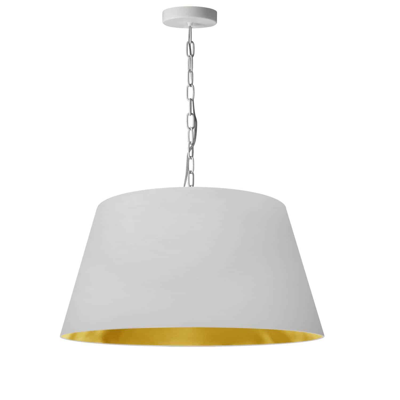 1 Light Brynn Medium Pendant, White/Gold Shade, White