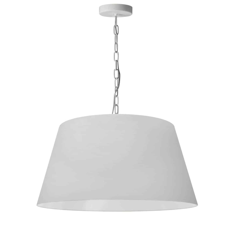 1 Light Brynn Medium Pendant, White Shade, White