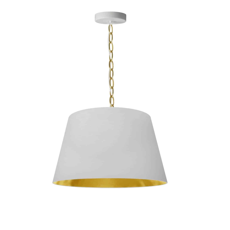 1 Light Brynn Small Pendant, White/Gold Shade, Aged Brass