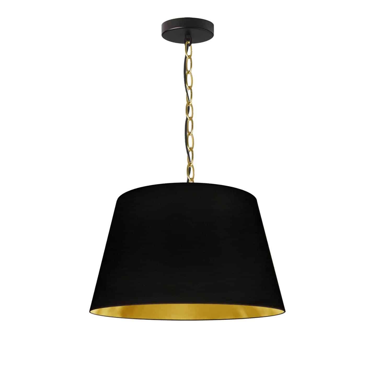 1 Light Brynn Small Pendant, Black/Gold Shade, Aged Brass