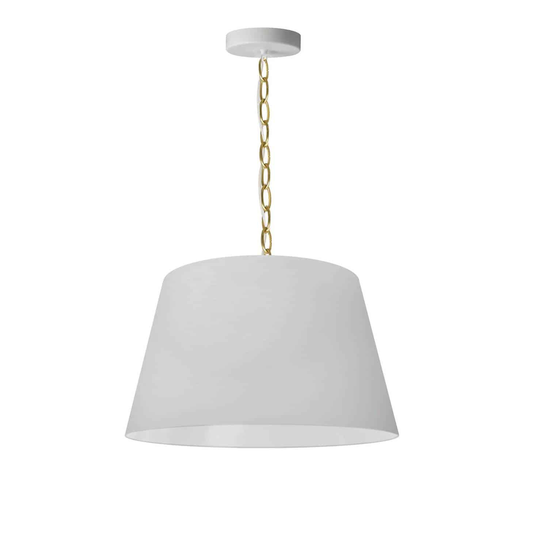 1 Light Brynn Small Pendant, White Shade, Aged Brass