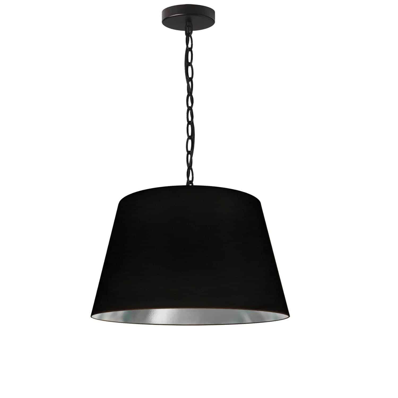 1 Light Brynn Small Pendant, Black/Silver Shade, Black