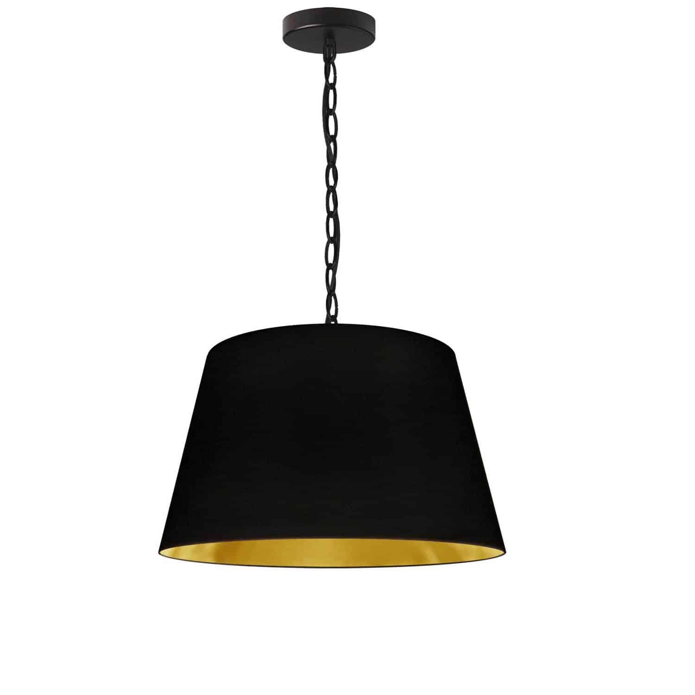 1 Light Brynn Small Pendant, Black/Gold Shade, Black