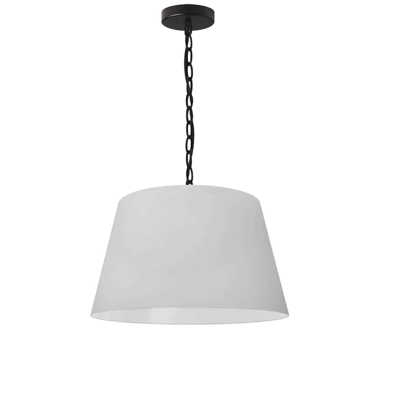 1 Light Brynn Small Pendant, White Shade, Black