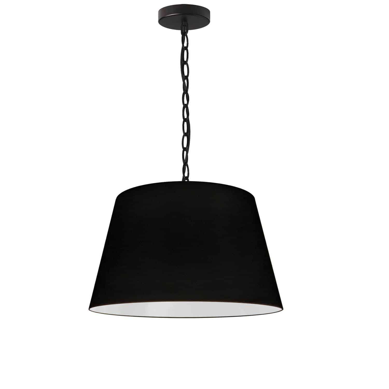 1 Light Brynn Small Pendant, Black Shade, Black