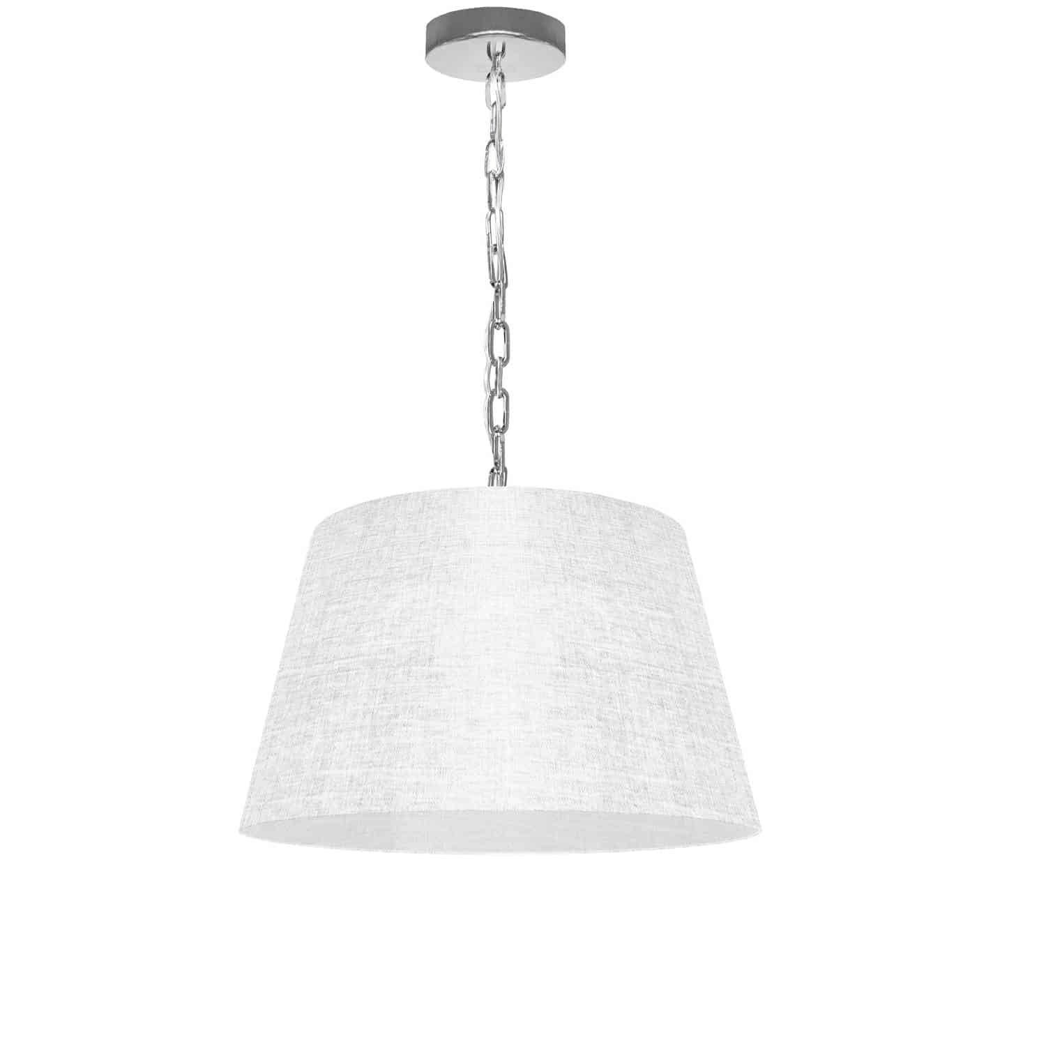 1 Light Brynn Small Pendant, White/Clear Shade, Polished Chrome