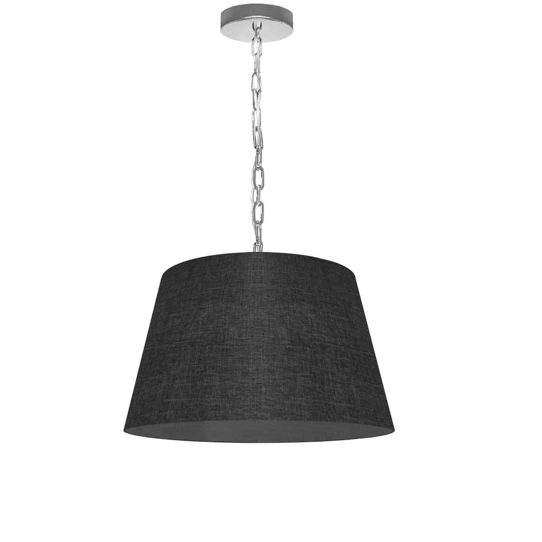 1 Light Brynn Small Pendant, Black/Clear Shade, Polished Chrome