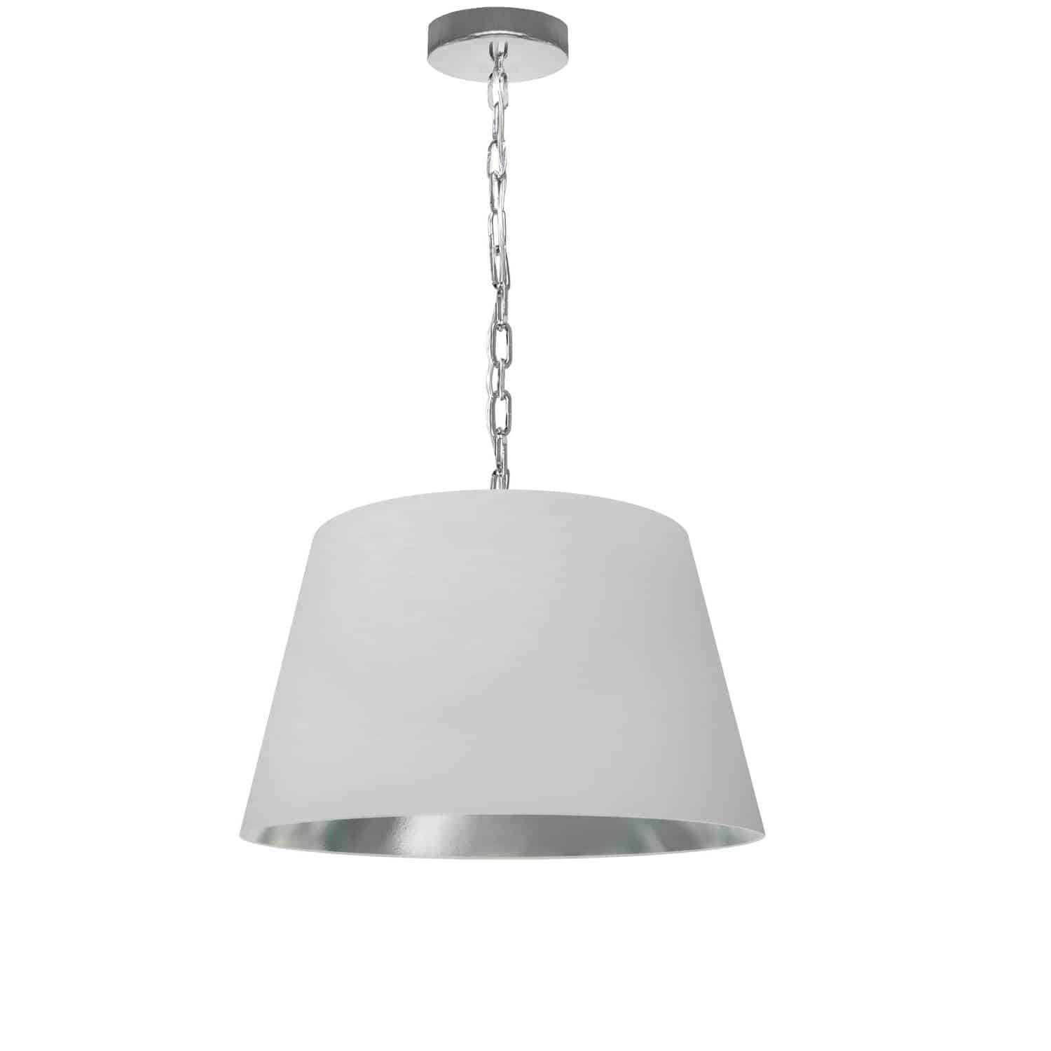 1 Light Brynn Small Pendant, White/Silver Shade, Polished Chrome