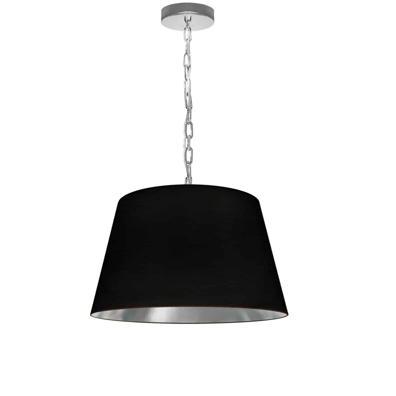 1 Light Brynn Small Pendant, Black/Silver Shade, Polished Chrome